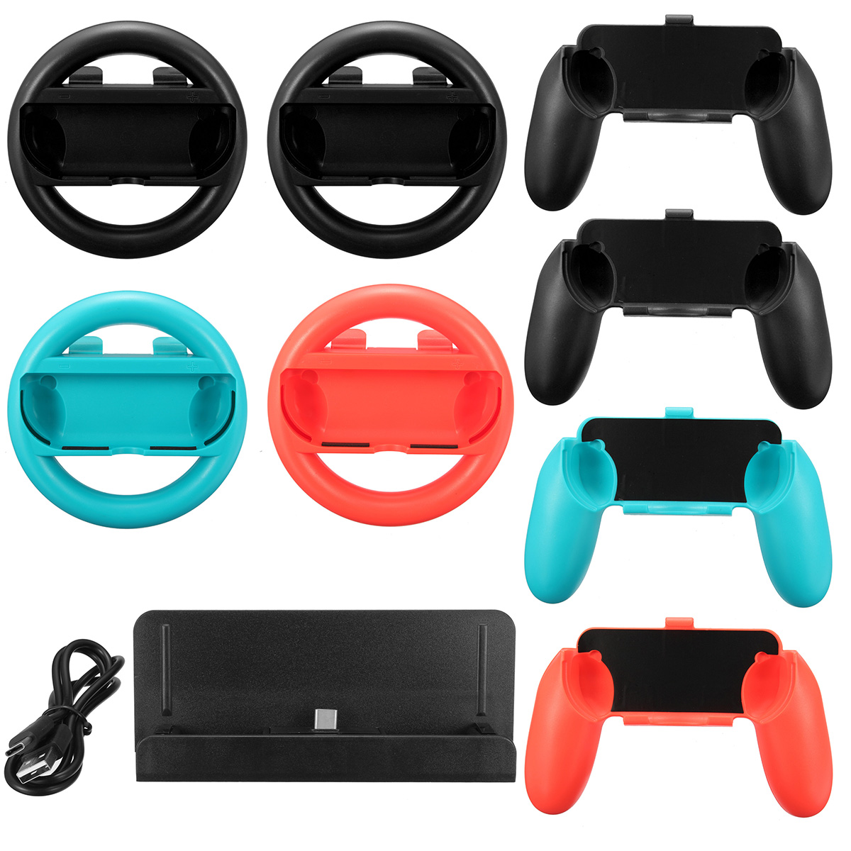 10 in 1 Charging Stand Controller Grip Holder Steering Wheel For Nintendo Switch