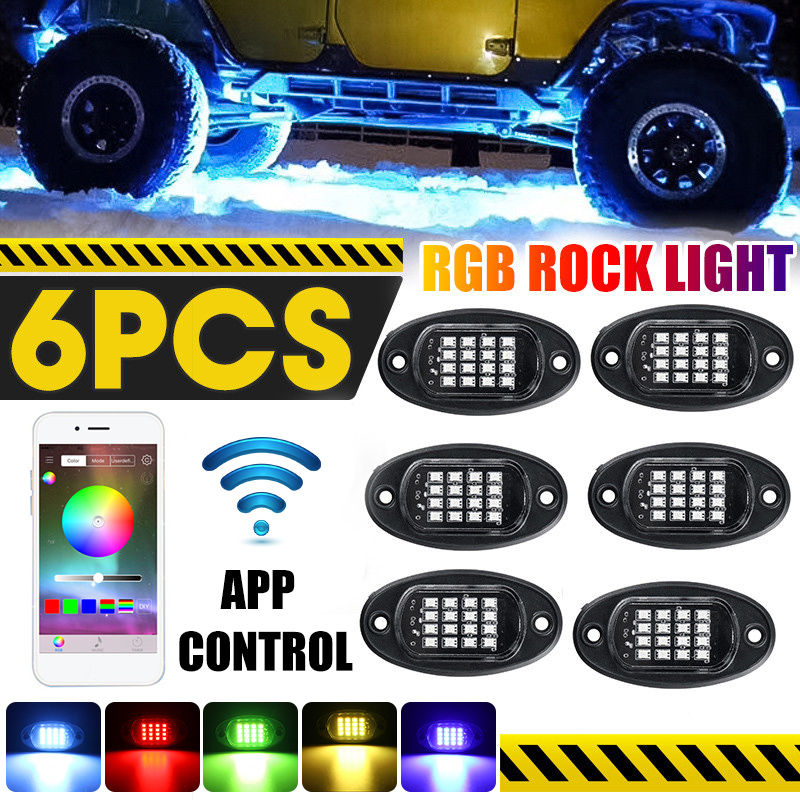 6Pcs LED RGB Off-road Rock Light Underbody Lamp bluetooth Control For Jeep Truck Motorcycle Boat