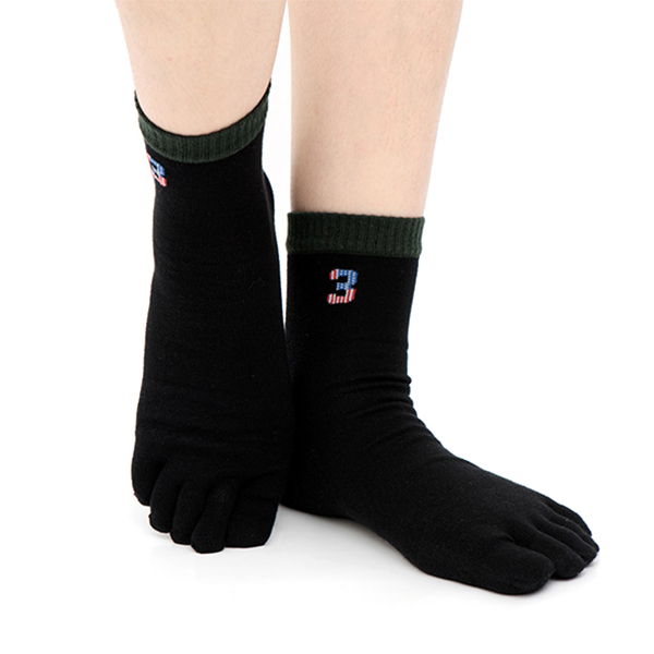 Mens Cotton Winter Warm Five Toe Slipper Socks Casual At Home Middle Tube Sport Sock