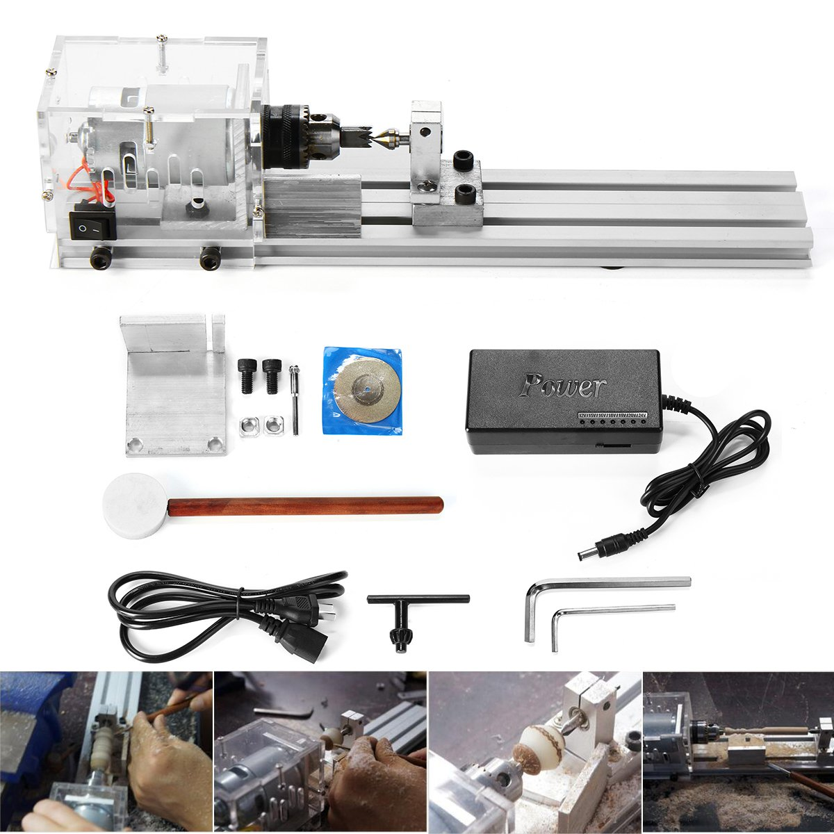 24V 80W Mini Lathe Beads Machine DIY Woodworking Lathe Miniature Grinding Polishing Standard Set
