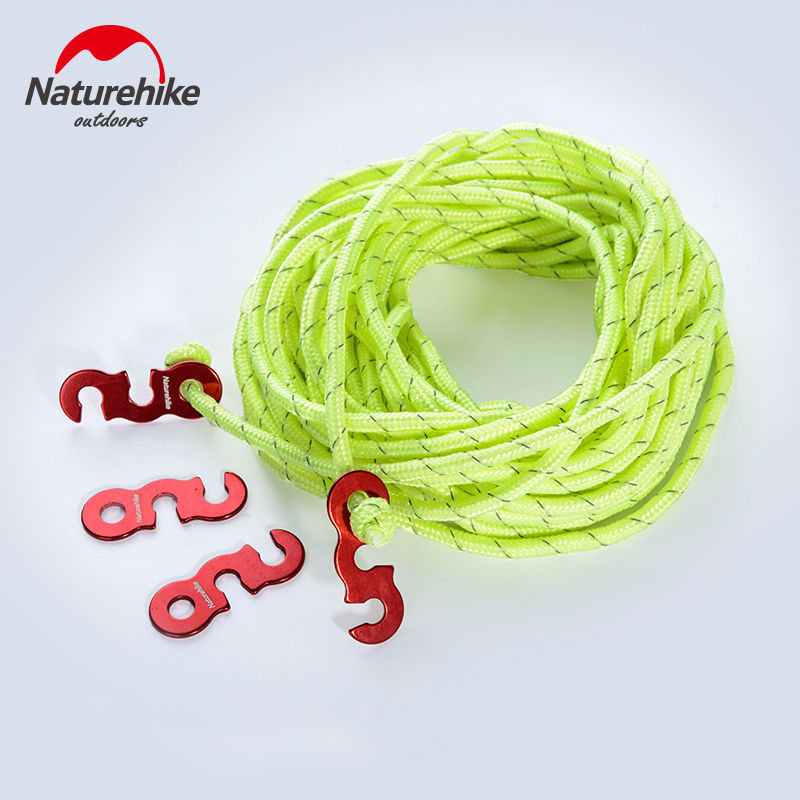 Naturehike NH15A004-A 4pcs Aluminum Alloy Wind Rope Buckle Camping Tent Accessories with 12m Rope