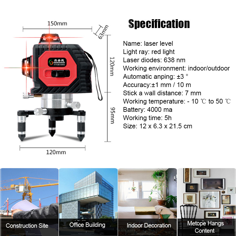 360° 8 Line Laser Level 3D Laser Self Leveling Vertical & Horizontal Level Cross