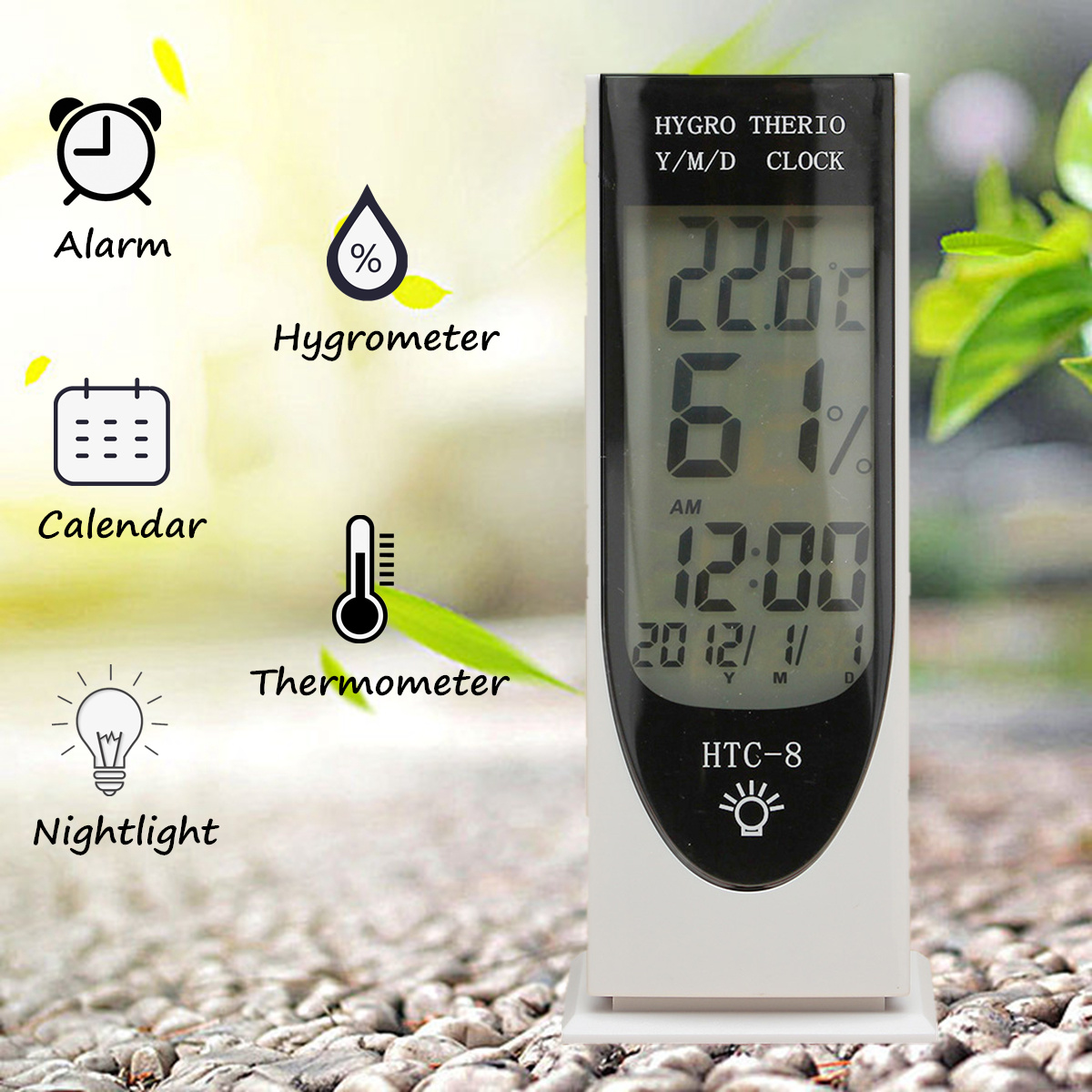 Digital Large LCD Alarm Clock Thermometer Calendar Hygrometer with Night Light