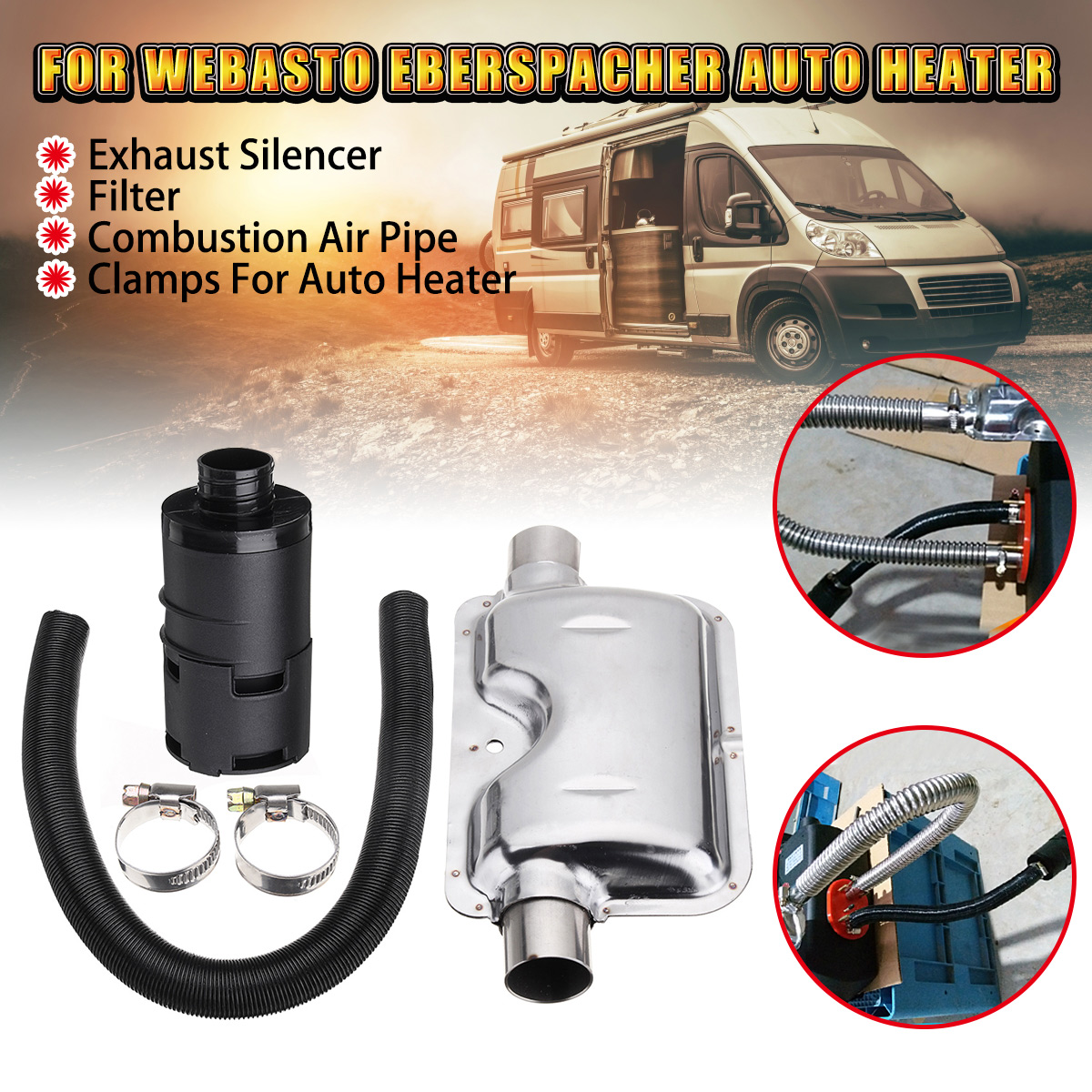 24mm Exhaust Silencer + 25mm Intake Filter + Induction Pipe Hose For Auto Car Air Diesel Heater