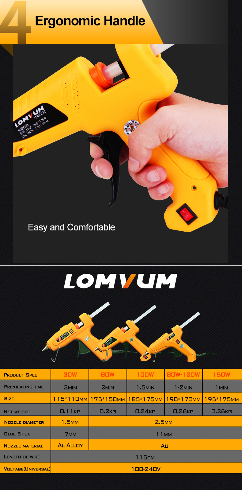 LOMVUM 30W/80W/100W/80-120W/150W High Temp Hot Melt Glue Gun Graft Repair Heat Gun Pneumatic DIY Tools