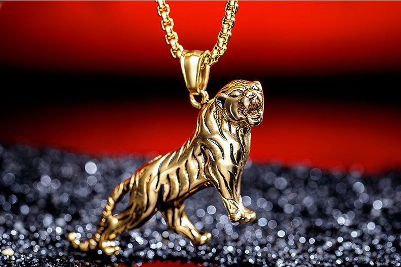 Personality Gold Silver Tiger Titanium Steel Men's Necklace
