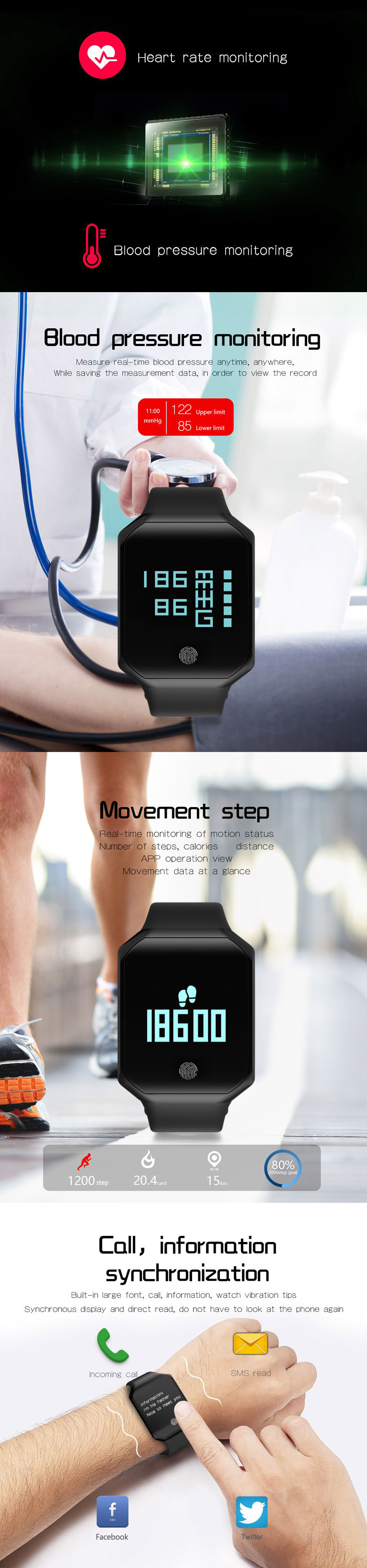 Z66 Smart Watch Sport Bracelet bluetooth OLED Heart Rate Monitor Blood Pressure