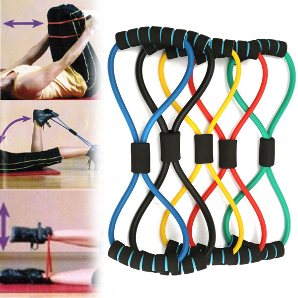 1Pc 8-Shaped Chest Expander Rope Exercise Resistance Band For Yoga Fitness Sports