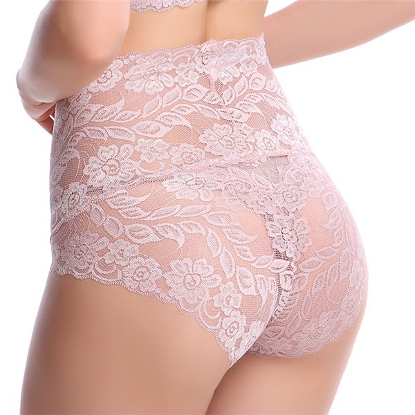 Sexy Embroidered Full Lace Overlays High Waist Panties