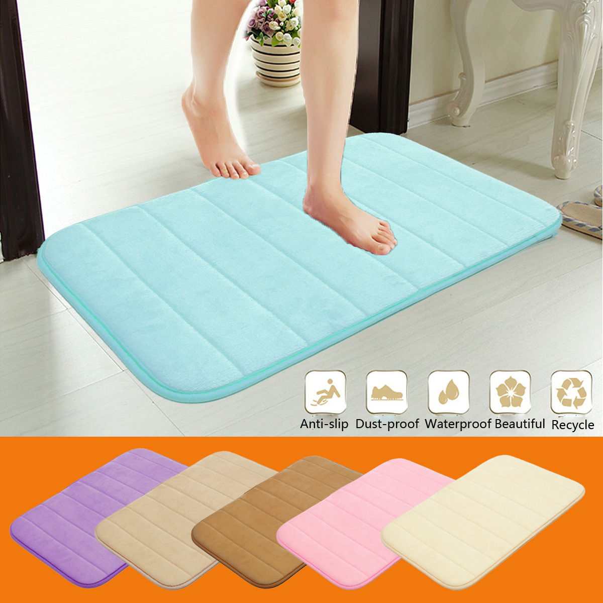 40x60cm Multi-color Thickened Coral Velvet Memory Foam Slow Rising Rug Bathroom Mat Soft Non-slip Plush Floor Carpet