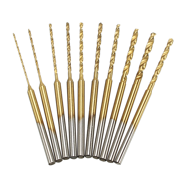 10pcs 0.6-2.2mm HSS Twist Drill Bits Set Titanium Coated High Speed Steel Drill Bits