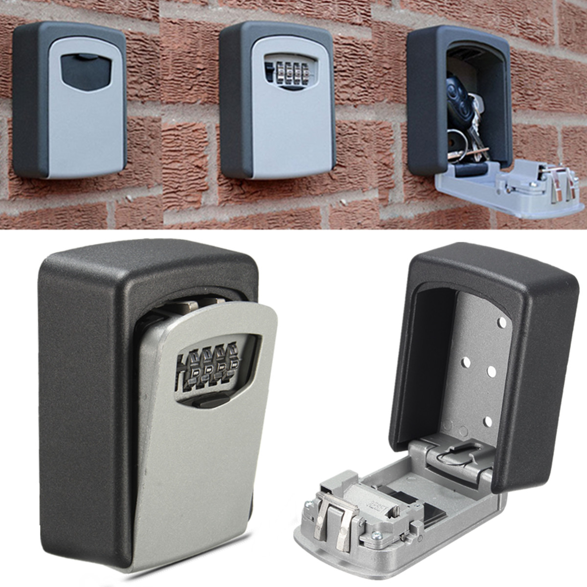4 Digit Combination Key Safe Security Storage Box Lock Case Cabinet Wall Mount