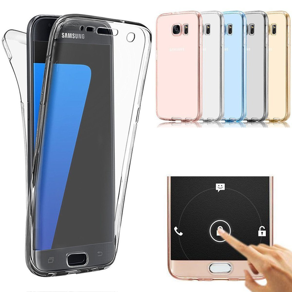 360 Full Body Clear Touch Screen Case For Samsung Galax