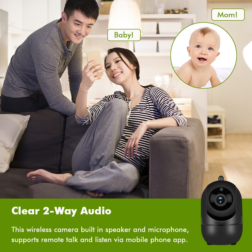 HD 1080P Wired Wireless Security Wifi IP Camera 3.6mm 2.0MP Lens Night Vision Two Way Audio Smart Home Video System Baby Pet Home Office