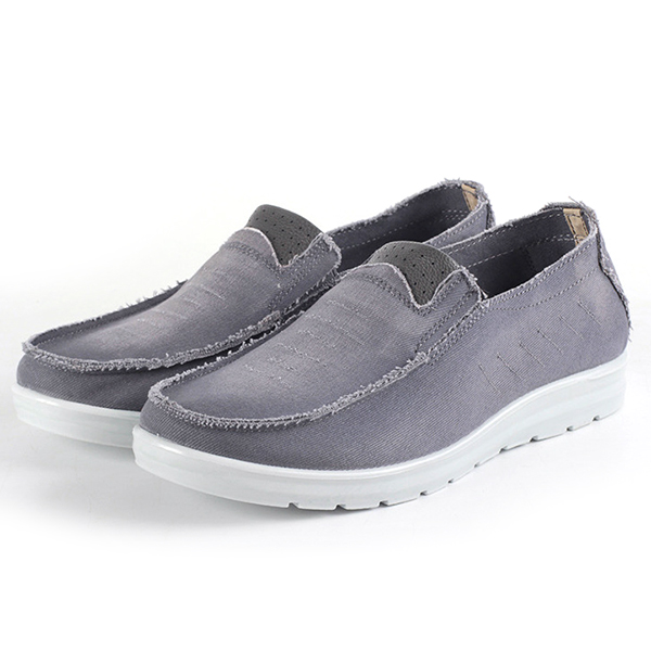 Men Casual Breathable Soft Sole Canvas Slip On Sneakers