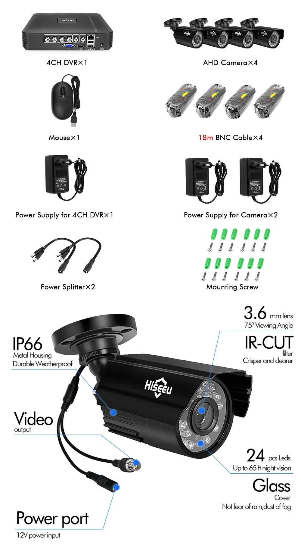 Hiseeu 4CH 1080P AHD Security Camera DVR CCTV Camera System Kit Waterproof Video Surveillance System