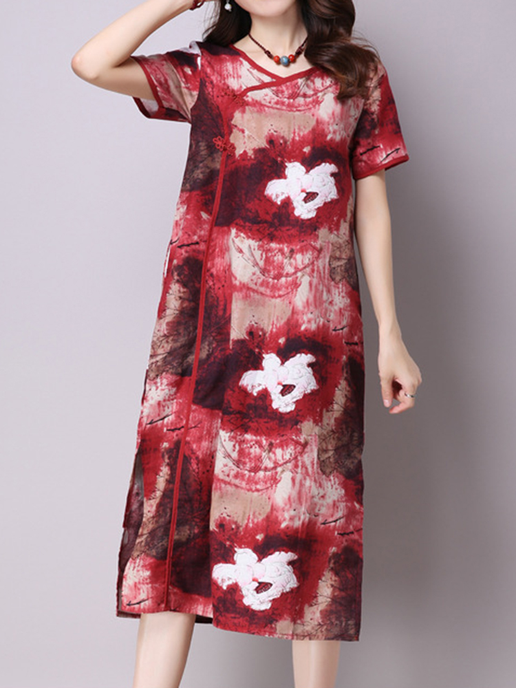 Women Vintage Chinese Frog Flower Printed Split Maxi Dress