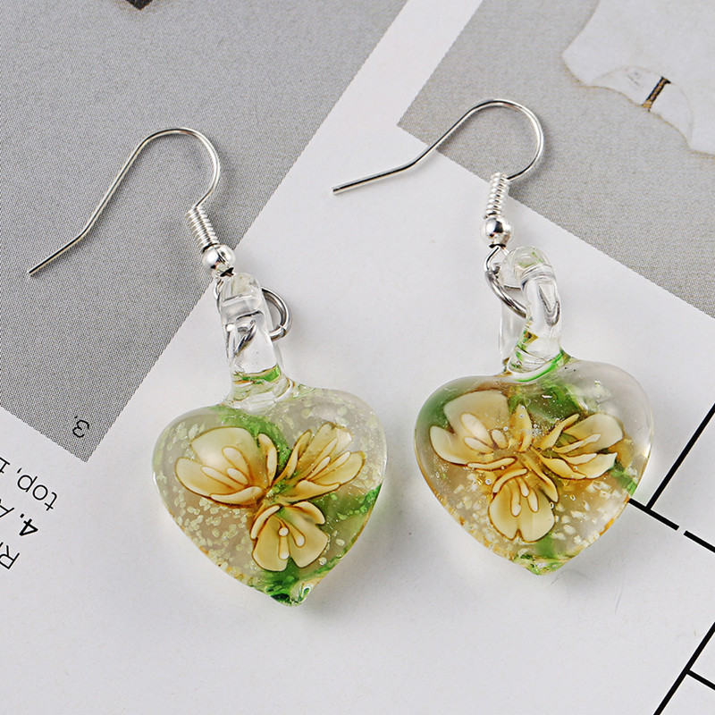 Flower Pattern Heart Dangle Earring for Women
