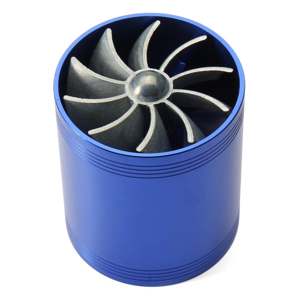 Blue Supercharger Power Air Intake Turbonator Dual Fan Turbine Gas Saver Turbo