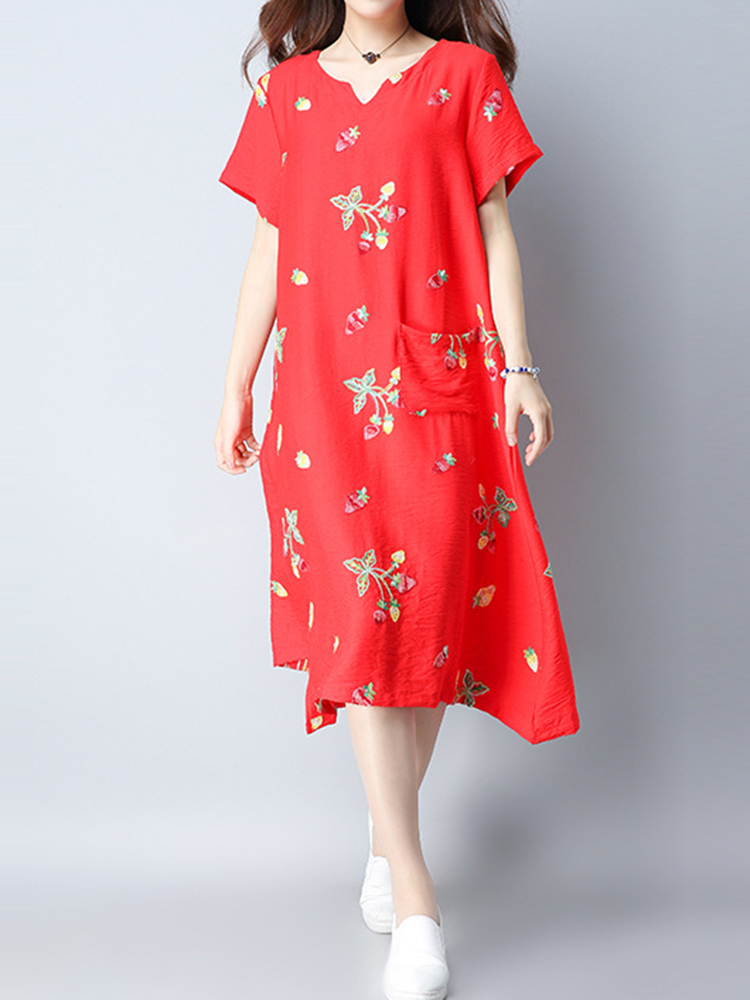 Elegant Women Loose Embroidery Dress Short Sleeve Cotton Linen Dresses