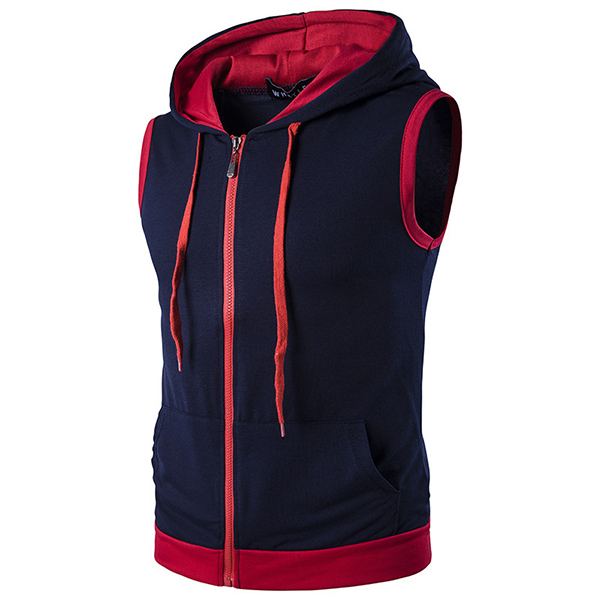 Fashion Casual Summer Hoodies Vest Men's Hit Color Stitching Hooded Sleeveless Tops