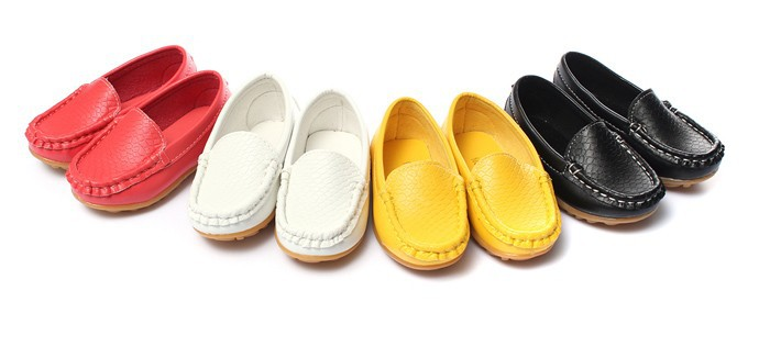 Children Shoes PU Leather Sneakers Casual Flats Kids Boys Girls Boat Soft Sole Shoes Slip On