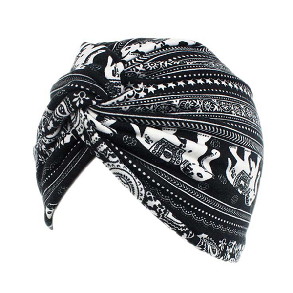 Women Flower Printing Cotton Turban Hat