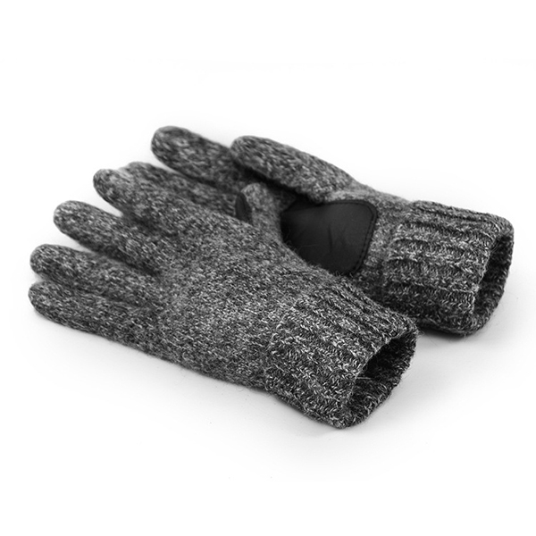 Mens Women Wool Thickening Warm Full Finger Gloves Solid Knitted Windproof Mittens