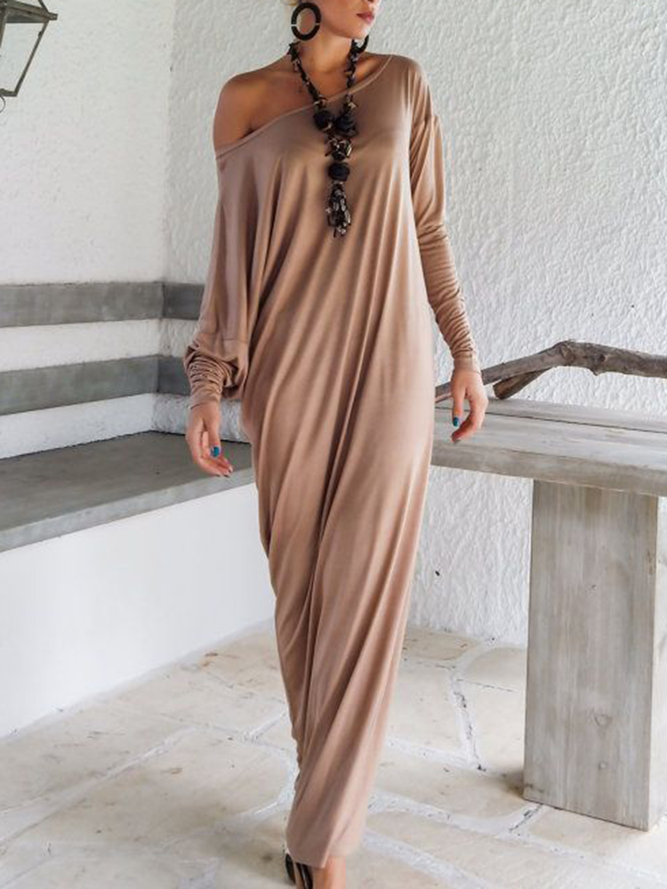 Women Elegant Off-shoulder Solid Long Sleeve Maxi Dress