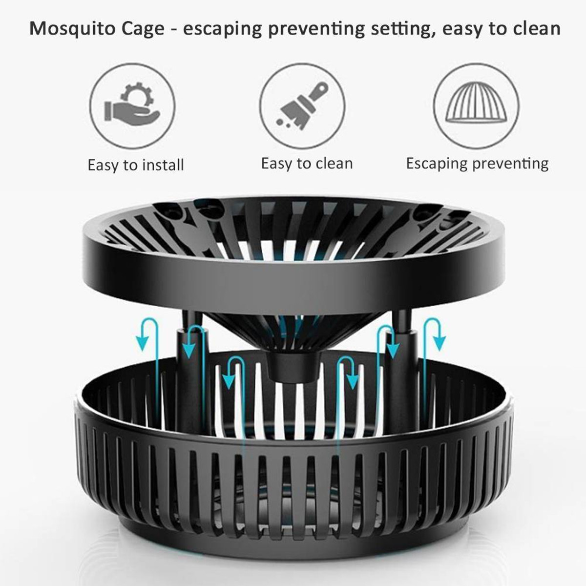 Garden Electric Mosquito Killer Light USB LED-Ray Electric Low Noise Fan Lamp Suction-type Mosquito Dispeller UV Mosquito Killer Light USB LED Trap Lamp Insect Bug Catcher Tool Light Control