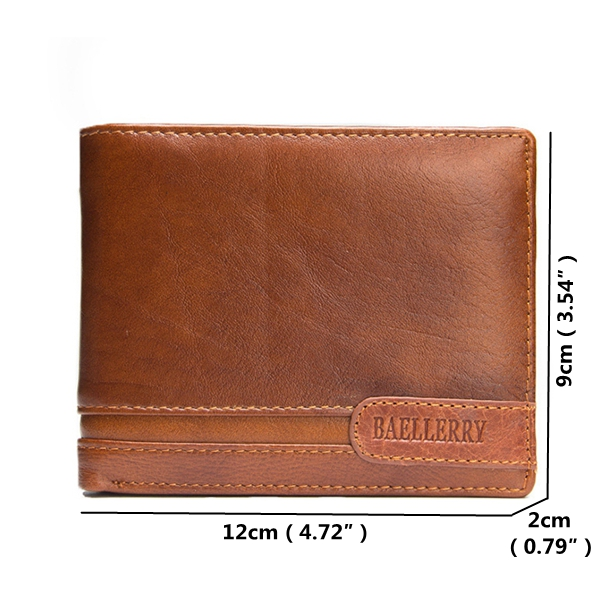 Men Genuine Leather Business Short Wallet Bifold Wallets Coin Purse Card Holder