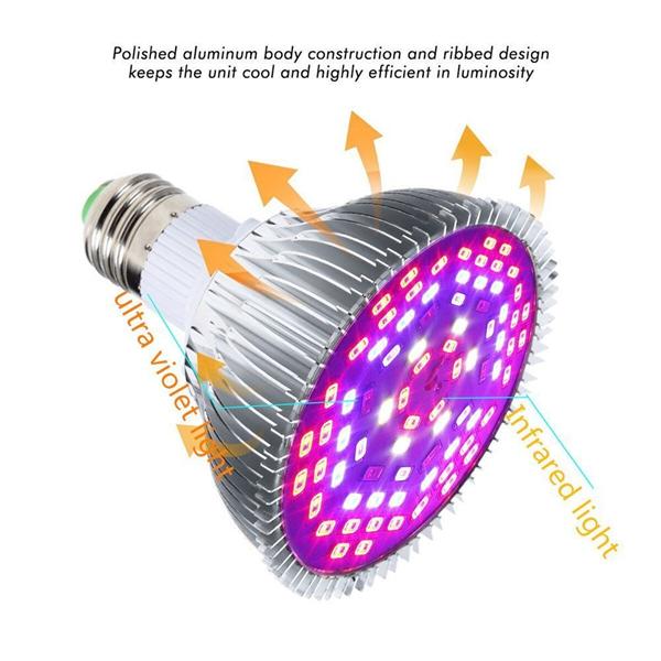 GLIME E27 45W 78 LED Full Spectrum Grow Light Lamp Blub for Plants Hydroponics Vegetables AC85-265V