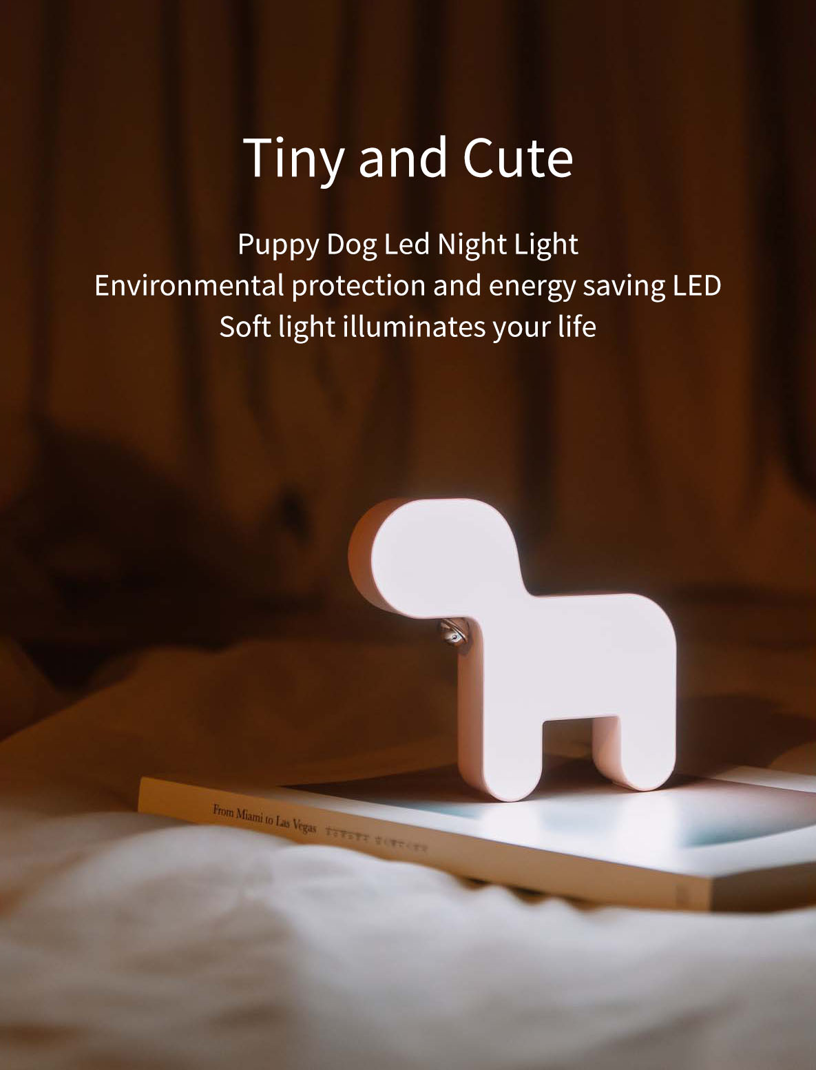 Cute Puppy Dog Led Night Light USB Rechargeable Small Bell Decor Lighting Timing LED Bedside Lamp