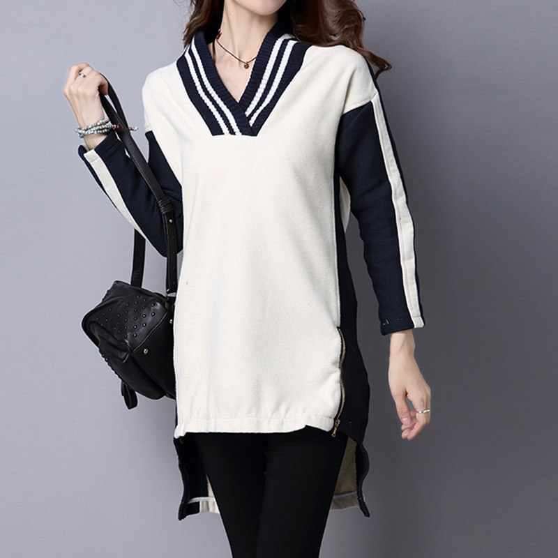 Stripe Patchwork V-Neck Long Sleeve Knitted Sweater