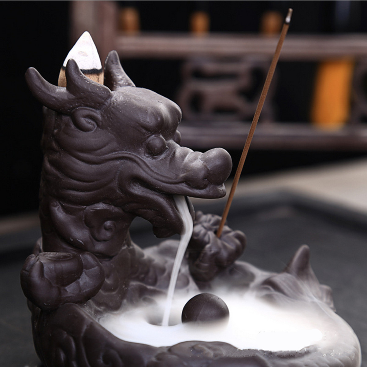 Purle Clay Backflow Incense Cone Burner Stick Holder Dragon Pearl Fragrance Fragrant Censer Decor