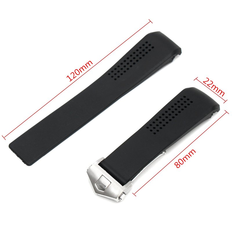 Black Silicone Watch Strap For 22mm Bayonet Position Watch