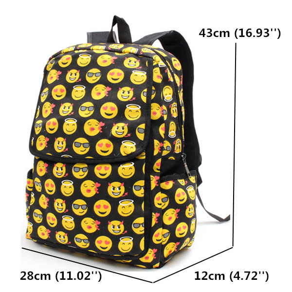 f0d7bf0205 cute cartoon emoji backpack girls sweet canvas book bags students ...