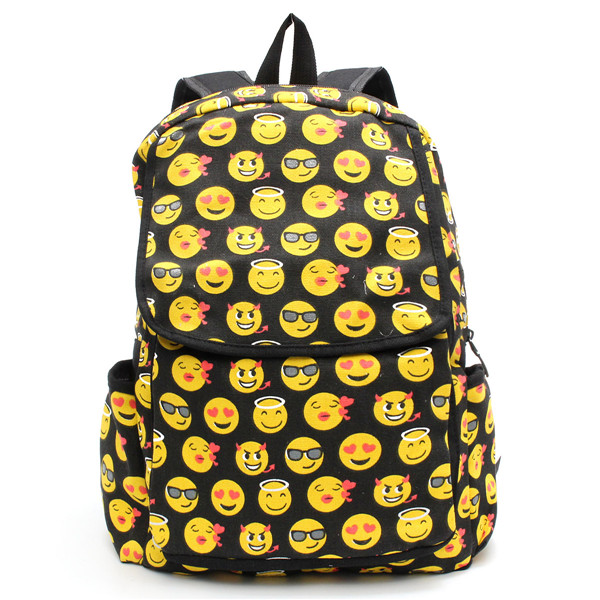 Cute Cartoon Emoji Backpack Girls Sweet Canvas Book Bags Students School Bags
