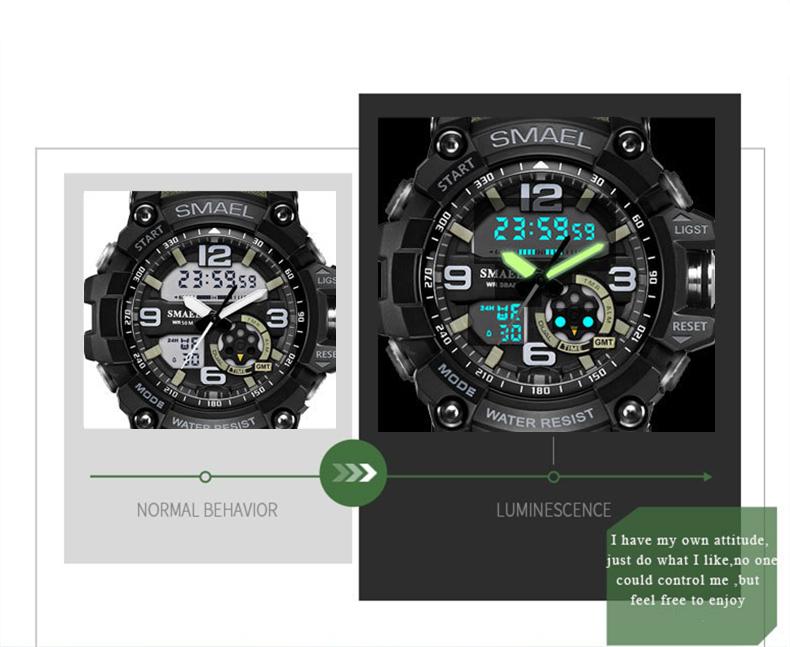 SMAEL 1617 LED Digital Watch Digital Analog Dual Display Japan Movement Men Watch