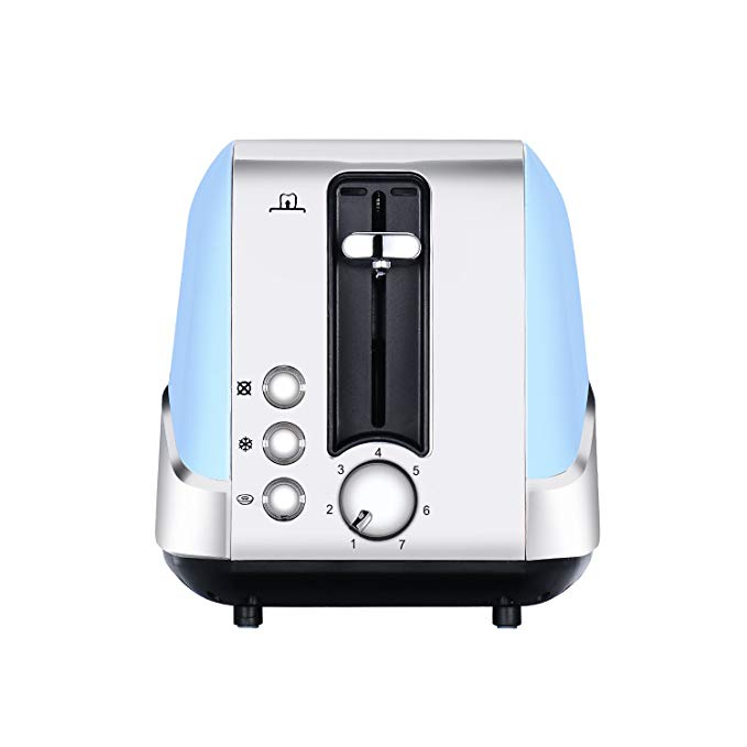 Fortune Candy 120V 850W Toaster 2 Slice Stainless Steel Toasted Breads with High Lift Lever Wide Slot Bread Toaster with Pop Up and Adjustable Temperature Control US plug