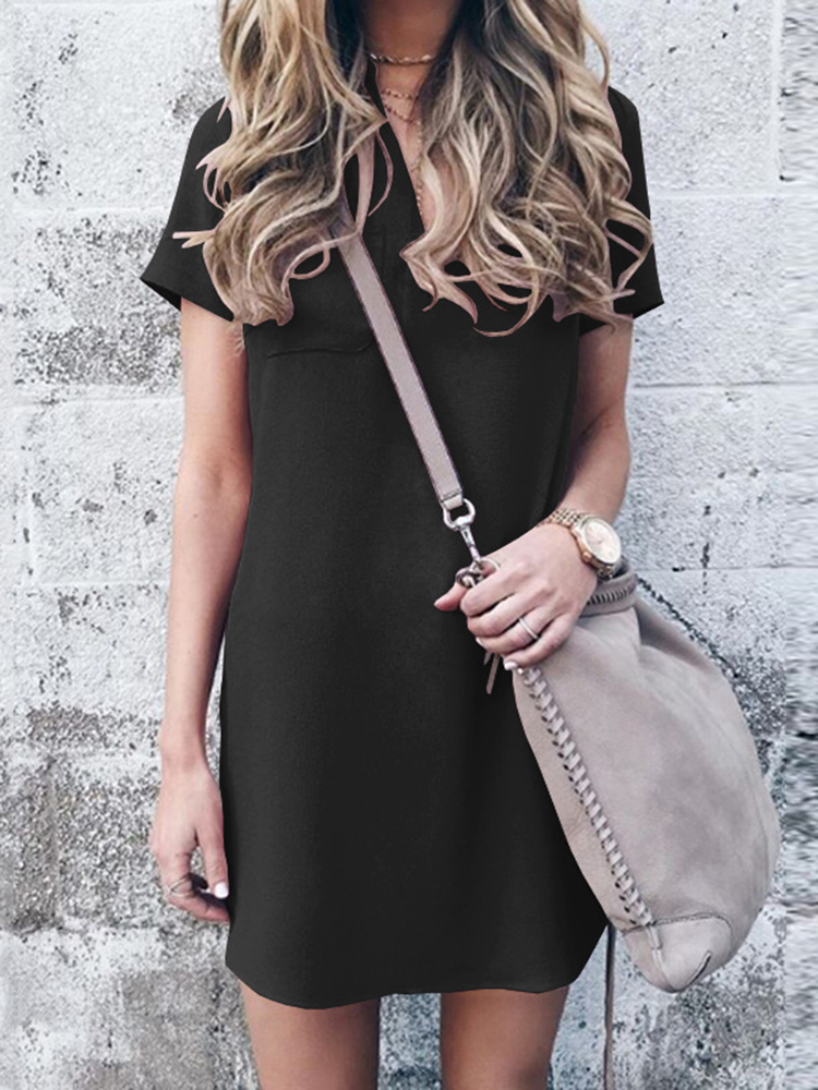 Casual Women Short Sleeve V-Neck Mid Long Pocket Dress