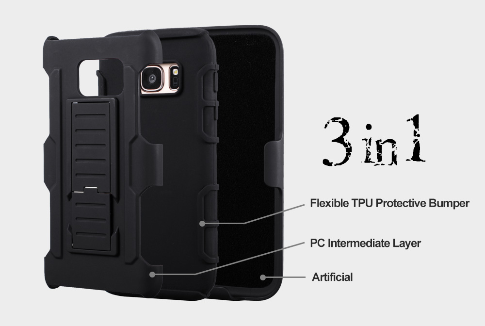 Bakeey™ 3 in 1 Armor Belt Clip kickstand Holder Soft TPU+Hard PC Case for Samsung Galaxy S7