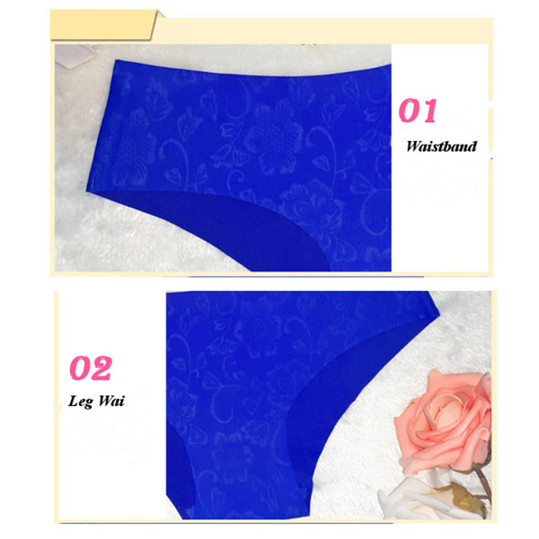 Women Elastic Soft Seamfree Floral Printing Smooth Low Rise Underwear Panties
