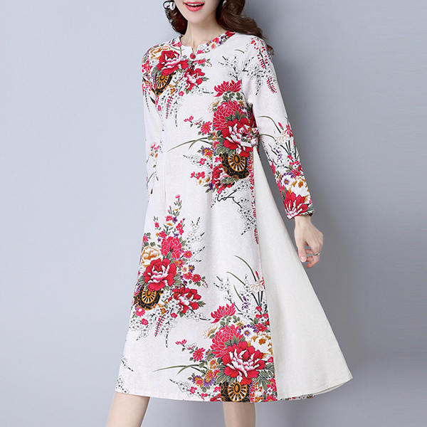 Spring Vintage Women Long Sleeve Floral Printed Patchwork A-Line Dresses