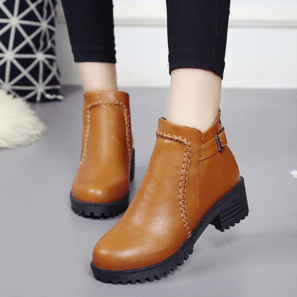 Round Toe Zipper Wedge Platform Ankle Short Boots For Women