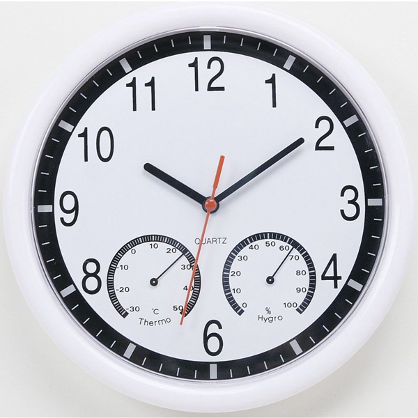 10   10 Inch Silent Modern Wall Clock With Thermometer & Hygrometer For Living Home Kitchen Office