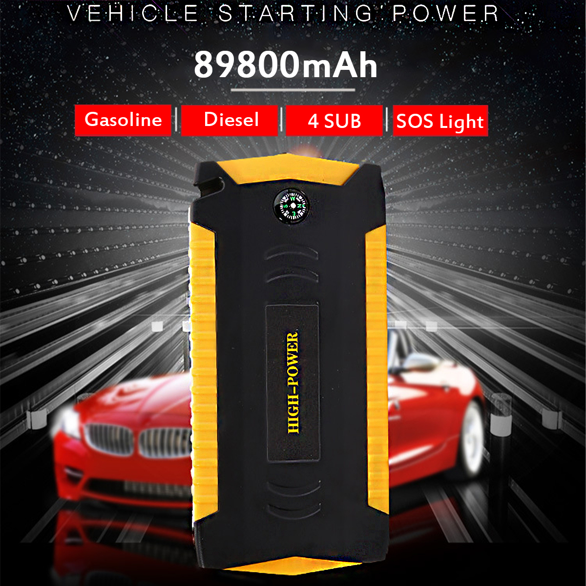 Dispaly 89800mAh Car Jump Starter Booster 4USB SOS Emergency Charger Battery