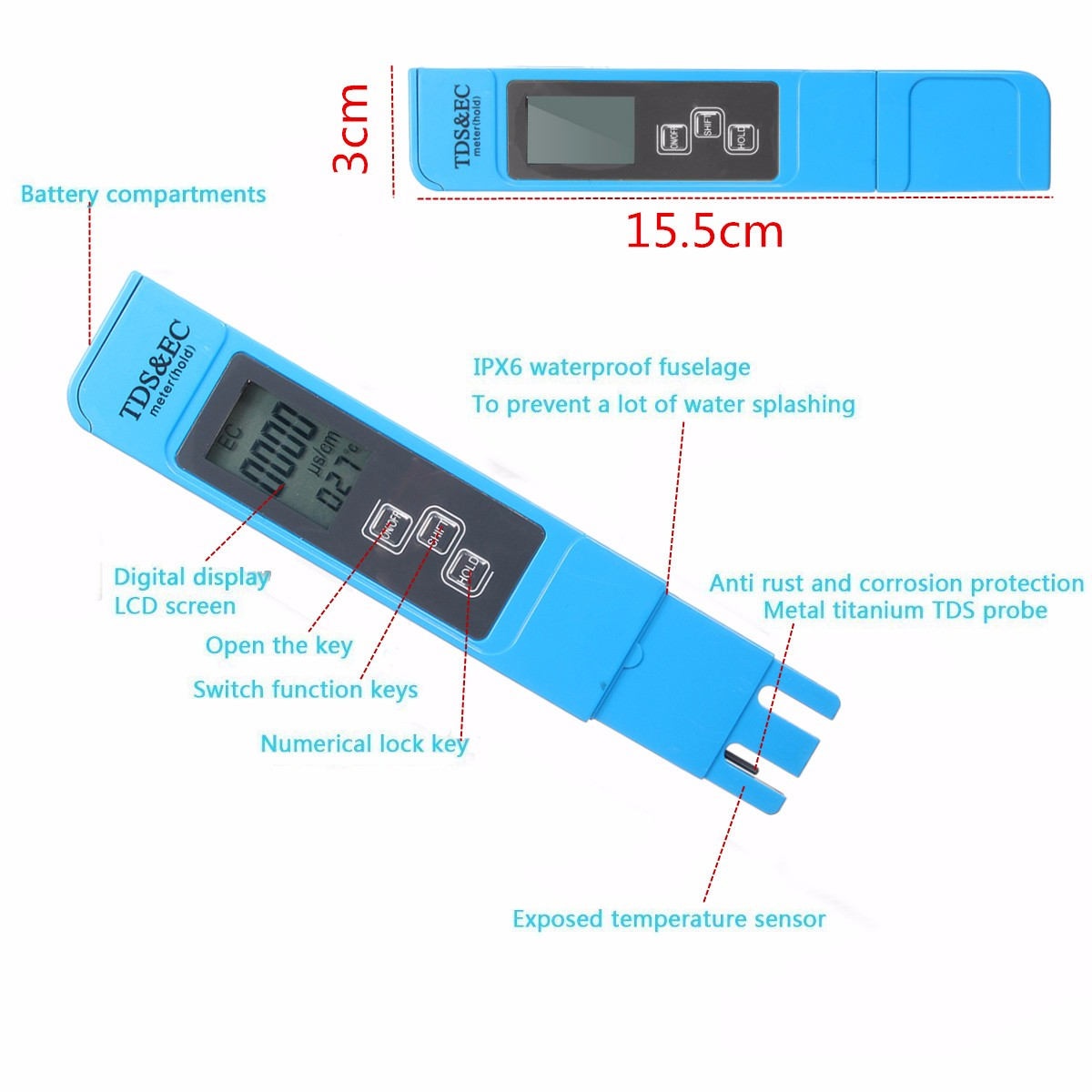 3 In 1 Digital Lcd Tds Ec Temperature Ppm Meter Tester Filter Pen With Dual Display Backlight Ez 2b Stick Water Quality