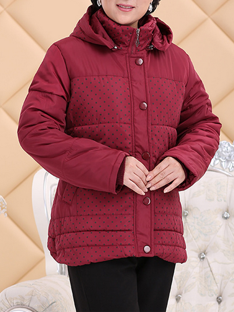 Middle Age Mother Dots Print Patchwork Hooded Padded Coat