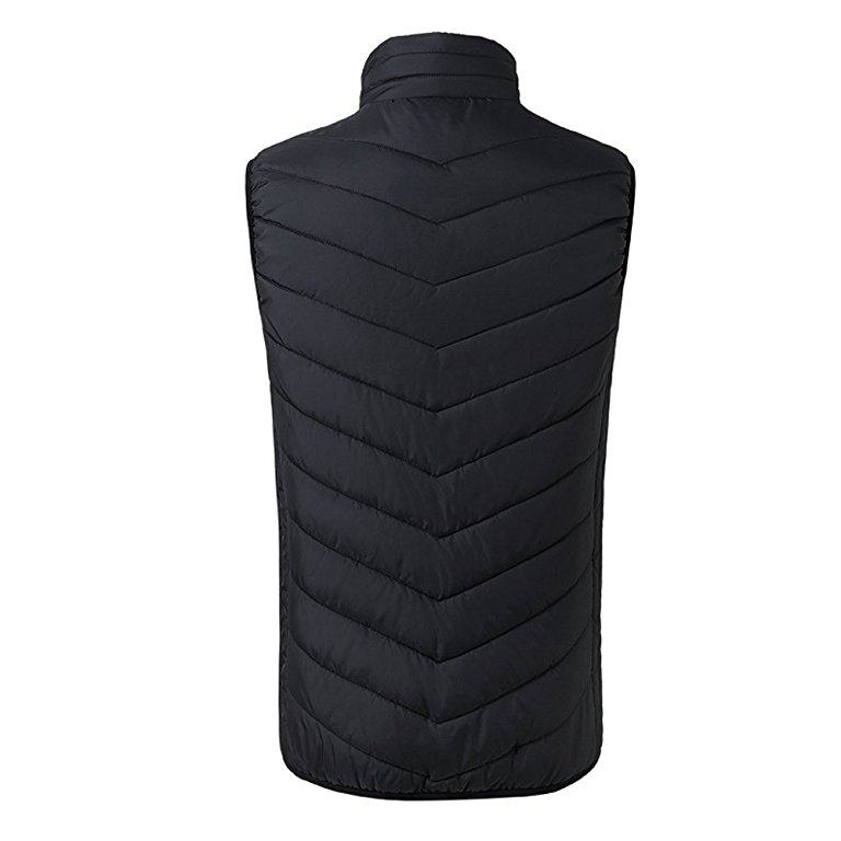 Outdoor Mens Winter Black Heated Vest Windbreaker Sleeveless Jacket Water Resistant